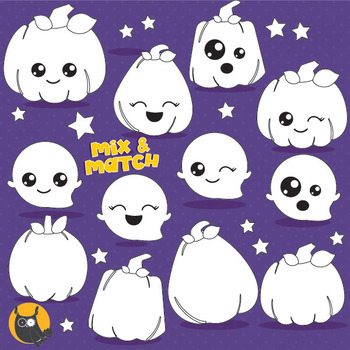 Kawaii pumpkin vector, commercial use black lines clipart - DS1006