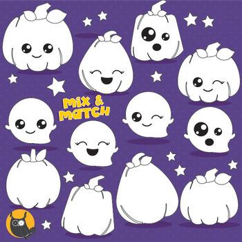 Kawaii pumpkin stamps commercial use, vector graphics, ima