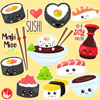 Kawaii sushi clipart commercial use, vector graphics  - CL1080