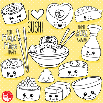 Kawaii sushi stamps,  commercial use, vector graphics, images  - DS1080