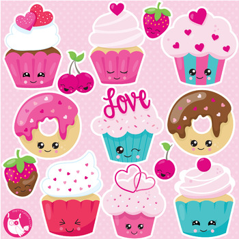 Kawaii valentine cupcakes clipart commercial use, vector ...