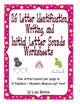 Kdg Letter Identification, Writing & Initial Sound Practice D'Nealian Bundle
