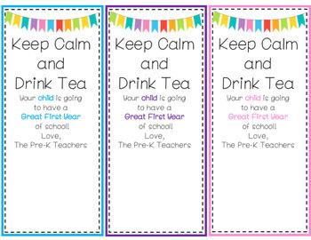 Keep Calm & Drink Tea(Tags for Parents)
