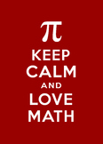 Keep Calm and Love Math classroom poster, white on red