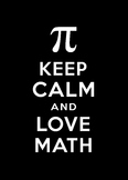 Keep Calm and Love Math classroom poster, white on black