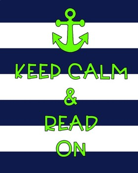 Keep Calm and Read On nautical themed poster