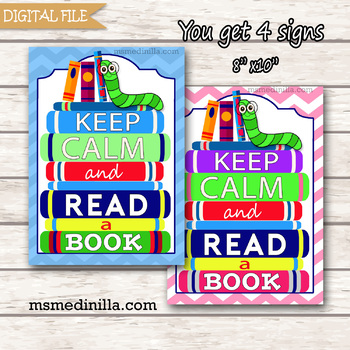 Keep Calm and Read a Book sign, Reading sign, Book lover sign, teacher