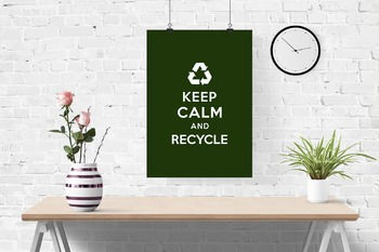 Keep Calm and Recycle classroom poster, white on hunter green