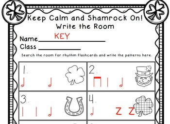 Keep Calm and Shamrock On! Write the Room Music Edition half note Set