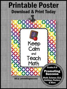 Keep Calm and Teach Math Teacher Gift, Math Classroom Poster