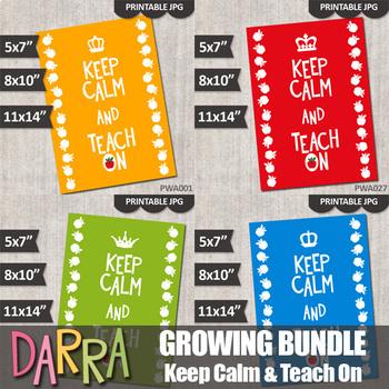 Keep Calm and Teach On Printable Classroom Poster, Teacher Gift