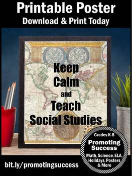 Keep Calm and Teach Social Studies Teacher Appreciation Week Gift Idea
