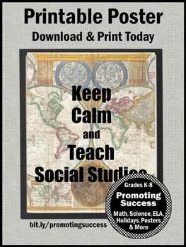 Keep Calm and Teach Social Studies Poster, Social Studies Decor, Teacher Gift