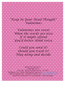"""""""Keep In Your Head Thought"""" Valentines"""