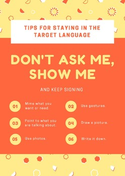 Keep Students in the target language poster