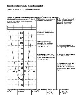 Keep Those Algebra Skills Sharp Spring 2014 (Editable)