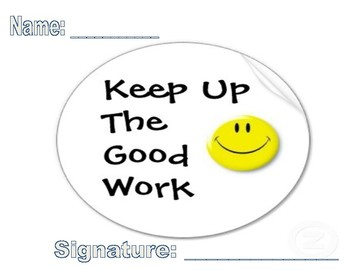 Keep Up the Good Work Certificate