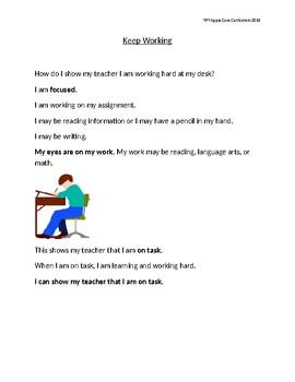 Keep Working Social Story