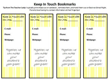Keep in Touch Magnets and Book Mark