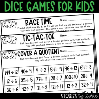 Division Dice Games Distance Learning