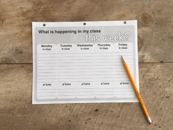 Keep students responsible weekly calendar