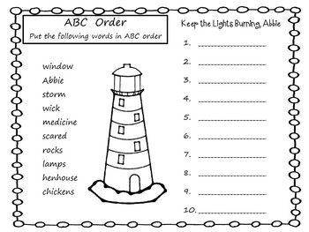 Keep the Lights Burning, Abbie  58 pgs Common Core Activities