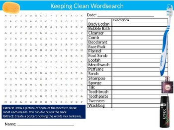 Keeping Clean Wordsearch Sheet Starter Activity Keywords Health Hygiene