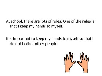 Keeping My Hands to Myself- Social Story