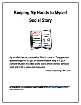 Keeping My Hands to Myself Social Story