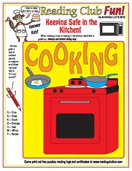 Keeping Safe in the Kitchen (Fire Safety) Color-In Puzzle