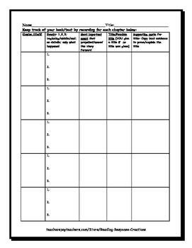 Chapter Log (events and chapter evidence organizer for keeping track of text)