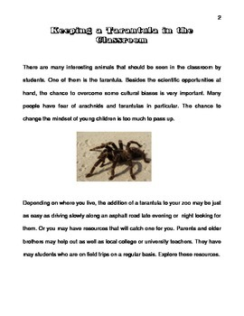 Keeping a Tarantula in the Classroom