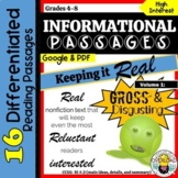 Keeping it Real: Nonfiction 'gross & disgusting' reading texts/main idea, detail