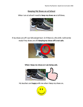 Keeping my Shoes On Social Story
