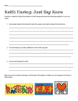 Keith Haring Article and Questions