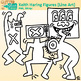 Keith Haring Clip Art {Great for Worksheets & Handouts} B&W