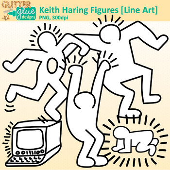 Keith Haring Clip Art | Great for Worksheets & Handouts | B&W