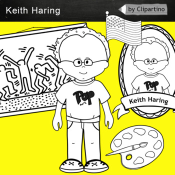 Keith Haring clipart BW - Artists Clip Art