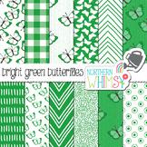 Kelly Green Butterfly Digital Paper