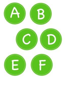 Kelly Green Circle Alphabet Labels