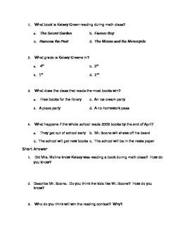 Kelsey Green, Reading Queen Chapter One Quiz or Homework