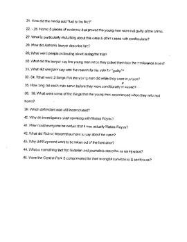 Ken Burns: The Central Park 5 Movie Questions