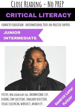 Kendrick Lamar Rapper Close Reading Informational Text Reflection No Prep Pack