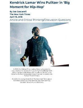 Kendrick Lamar and the Pulitzer Prize: Article & Discussion Questions