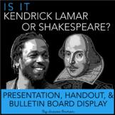 Kendrick Lamar or Shakespeare Interactive Bulletin Board, Presentation, & Quiz