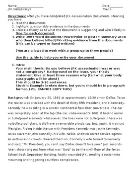Kennedy Assassination - Student Essay Assignment