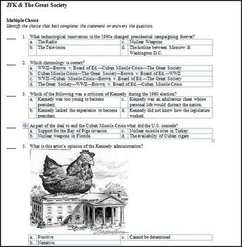 U.S. History Kennedy & Great Society Test (1960's)