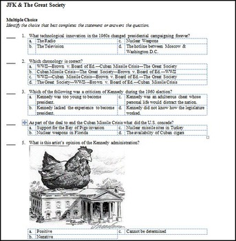 U.S. History Kennedy & Great Society Test (1960's)