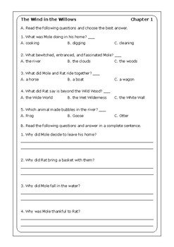 """Kenneth Grahame """"The Wind in the Willows"""" worksheets"""