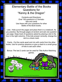 Kenny & the Dragon by Tony DiTerlizzi - Over 100 EBOB Questions